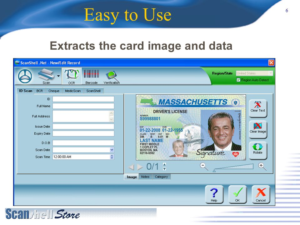 6 Easy to Use Extracts the card image and data
