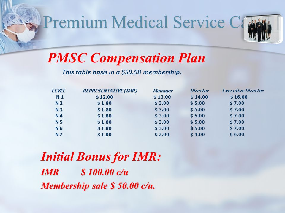 Premium Medical Service Card PMSC Compensation Plan This table basis in a $59.98 membership.