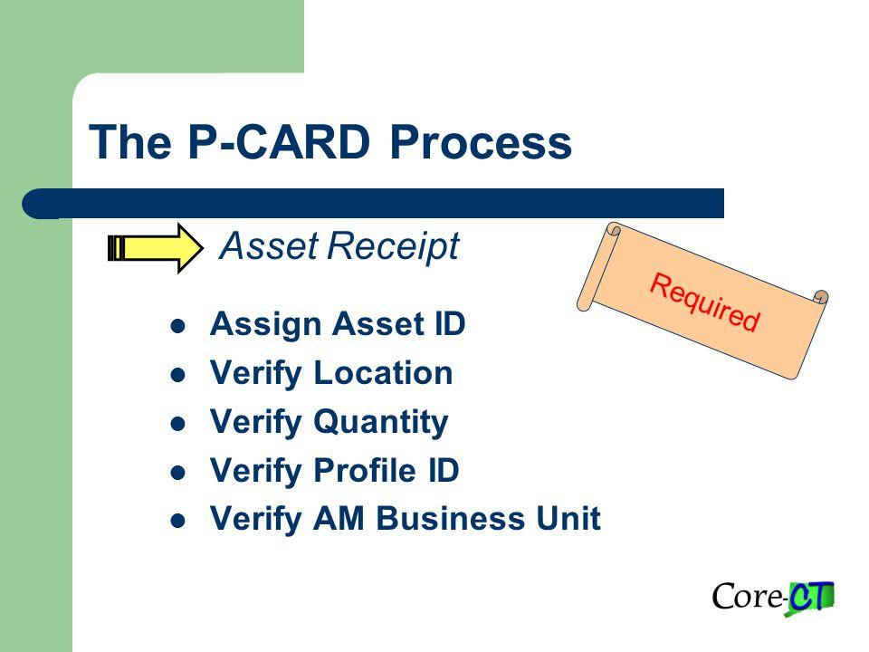 The P-CARD Process Asset Receipt Assign Asset ID Verify Location Verify Quantity Verify Profile ID Verify AM Business Unit Required