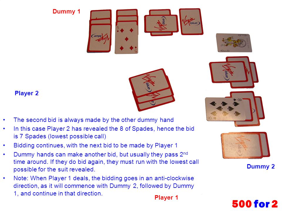 The second bid is always made by the other dummy hand In this case Player 2 has revealed the 8 of Spades, hence the bid is 7 Spades (lowest possible c