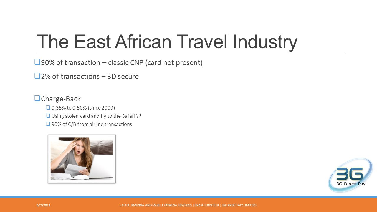 The East African Travel Industry 90% of transaction – classic CNP (card not present) 2% of transactions – 3D secure Charge-Back 0.35% to 0.50% (since