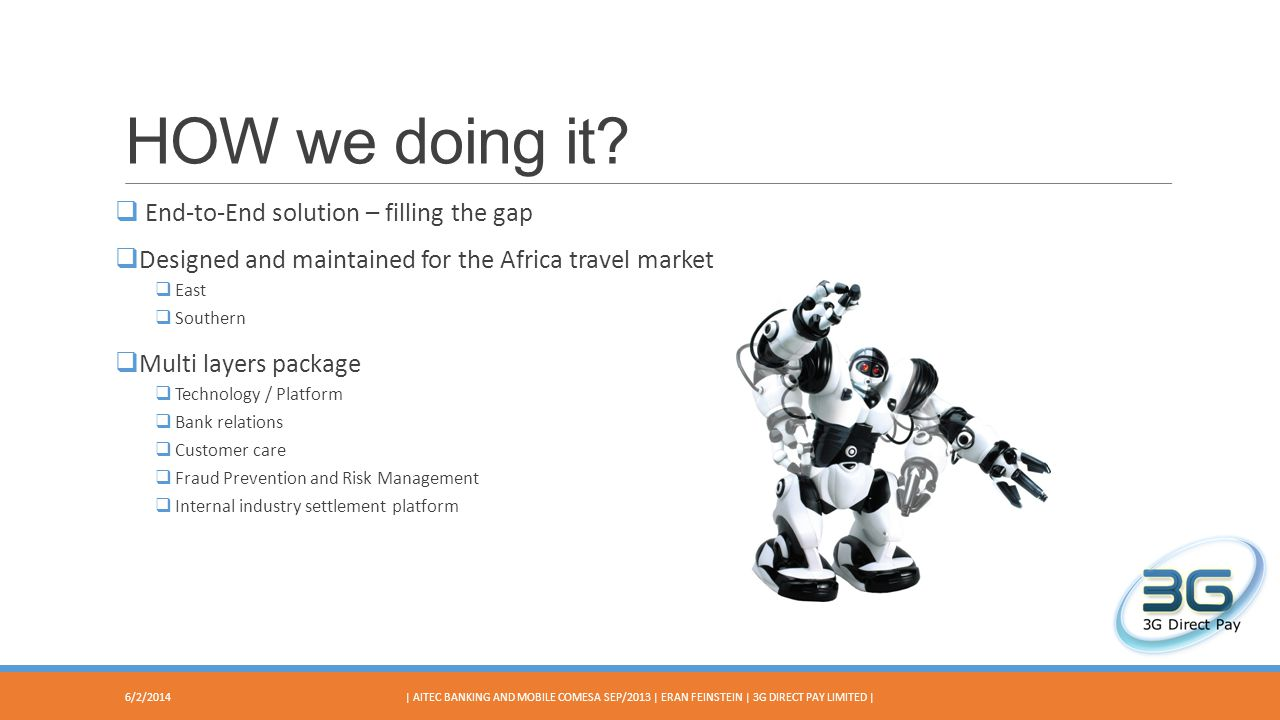HOW we doing it? End-to-End solution – filling the gap Designed and maintained for the Africa travel market East Southern Multi layers package Technol