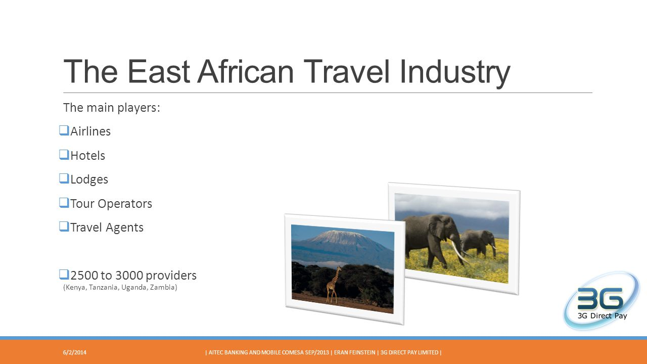 The East African Travel Industry The main players: Airlines Hotels Lodges Tour Operators Travel Agents 2500 to 3000 providers (Kenya, Tanzania, Uganda