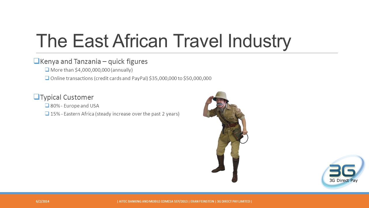 The East African Travel Industry Kenya and Tanzania – quick figures More than $4,000,000,000 (annually) Online transactions (credit cards and PayPal) $35,000,000 to $50,000,000 Typical Customer 80%- Europe and USA 15% - Eastern Africa (steady increase over the past 2 years) 6/2/2014| AITEC BANKING AND MOBILE COMESA SEP/2013 | ERAN FEINSTEIN | 3G DIRECT PAY LIMITED |