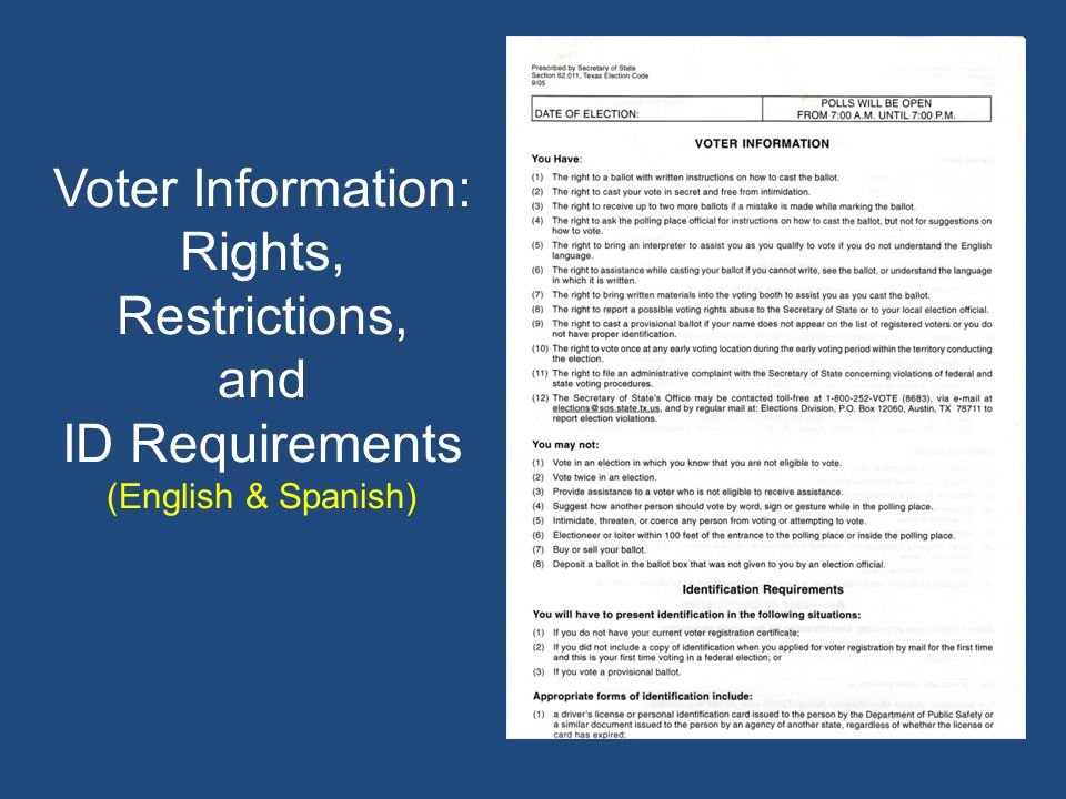 Voter Information: Rights, Restrictions, and ID Requirements (English & Spanish)
