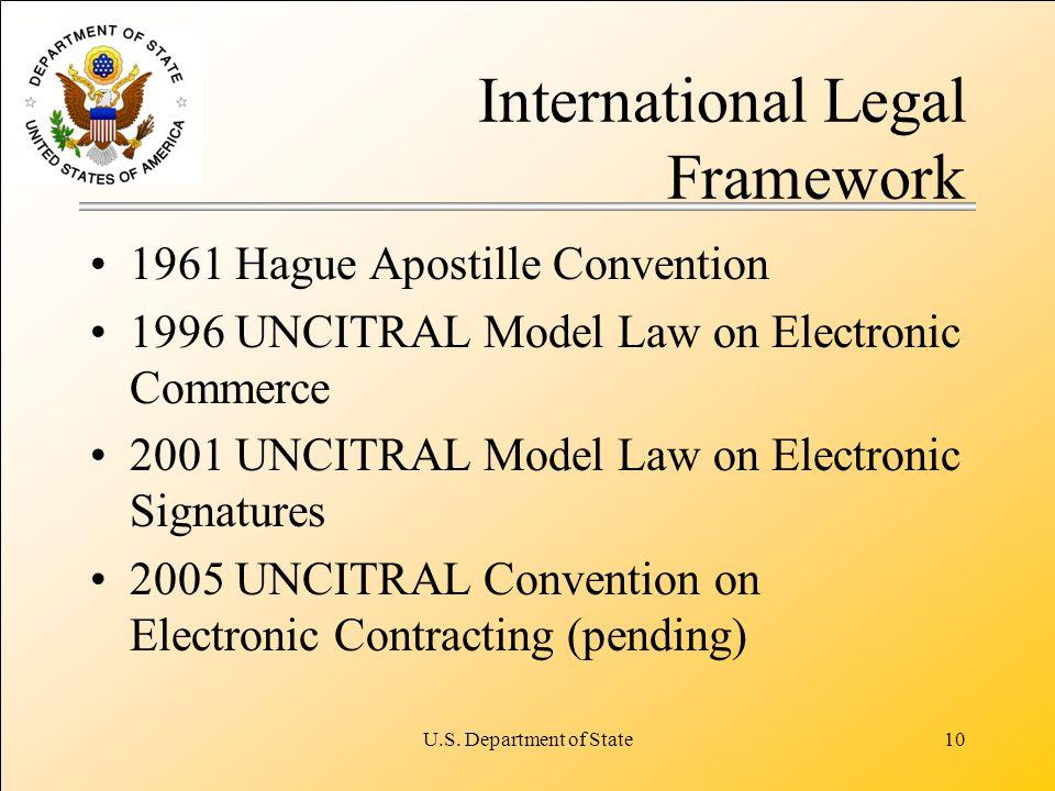 U.S. Department of State10 International Legal Framework 1961 Hague Apostille Convention 1996 UNCITRAL Model Law on Electronic Commerce 2001 UNCITRAL