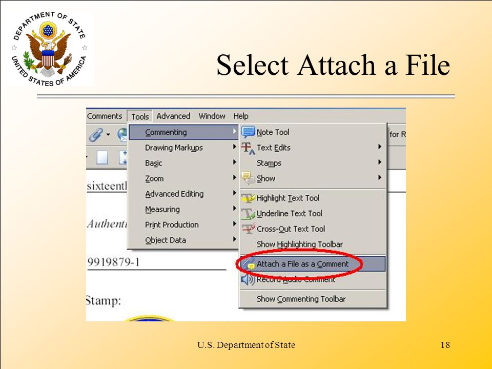 U.S. Department of State18 Select Attach a File