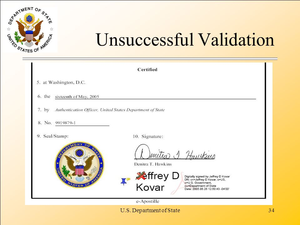 U.S. Department of State34 Unsuccessful Validation