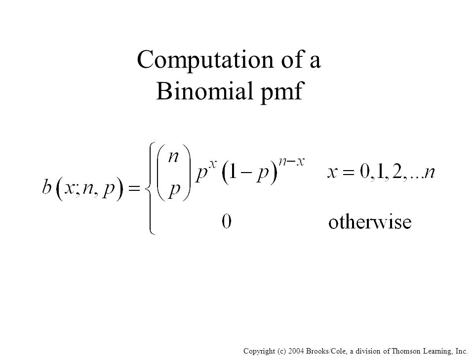 Copyright (c) 2004 Brooks/Cole, a division of Thomson Learning, Inc. Computation of a Binomial pmf
