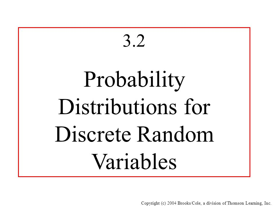 Copyright (c) 2004 Brooks/Cole, a division of Thomson Learning, Inc. 3.2 Probability Distributions for Discrete Random Variables