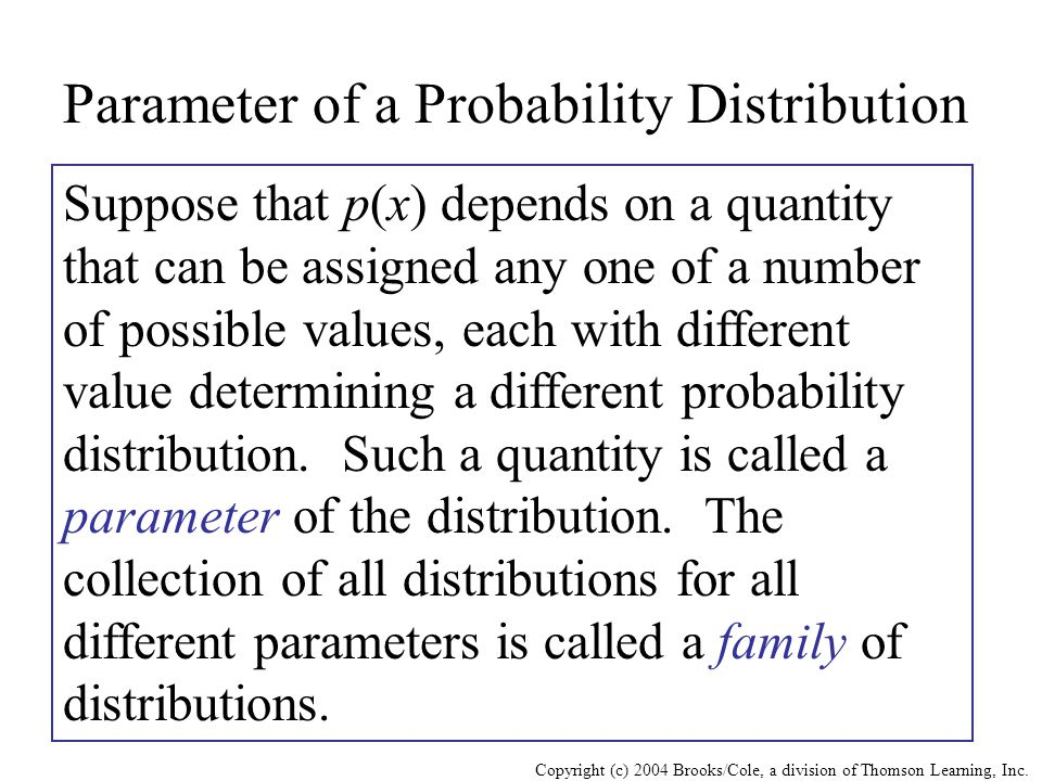 Copyright (c) 2004 Brooks/Cole, a division of Thomson Learning, Inc. Parameter of a Probability Distribution Suppose that p(x) depends on a quantity t