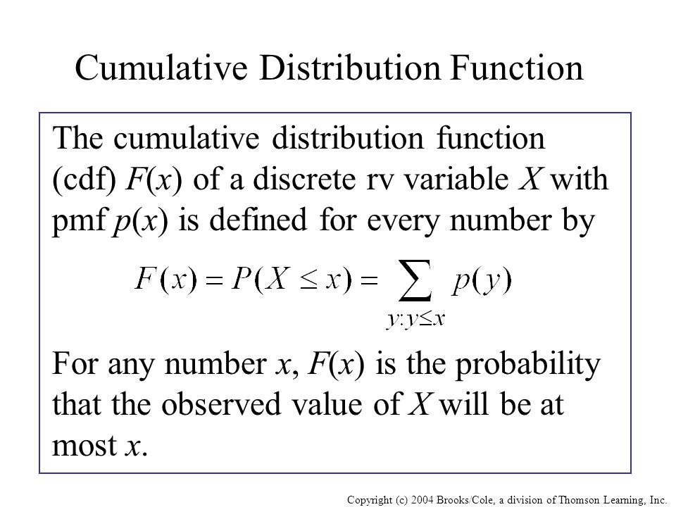 Copyright (c) 2004 Brooks/Cole, a division of Thomson Learning, Inc. Cumulative Distribution Function The cumulative distribution function (cdf) F(x)