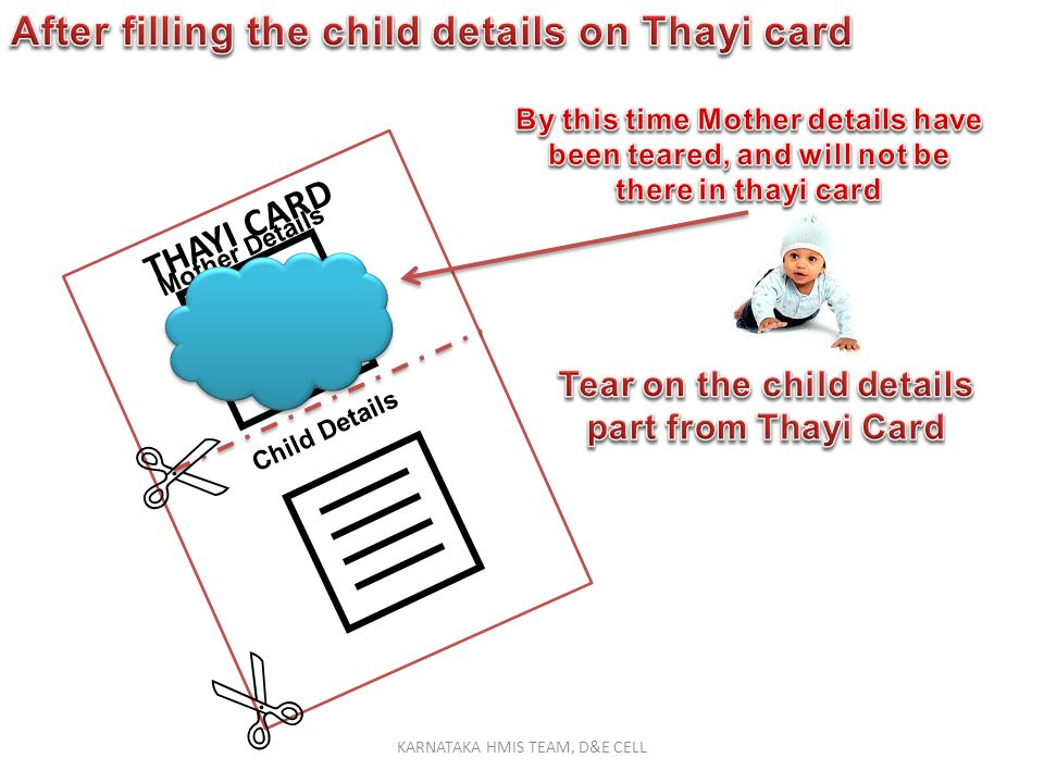 THAYI CARD Mother Details Child Details NOTE : Use the Annexure-2 from 01/01/2011 to 01/10/2011 KARNATAKA HMIS TEAM, D&E CELL