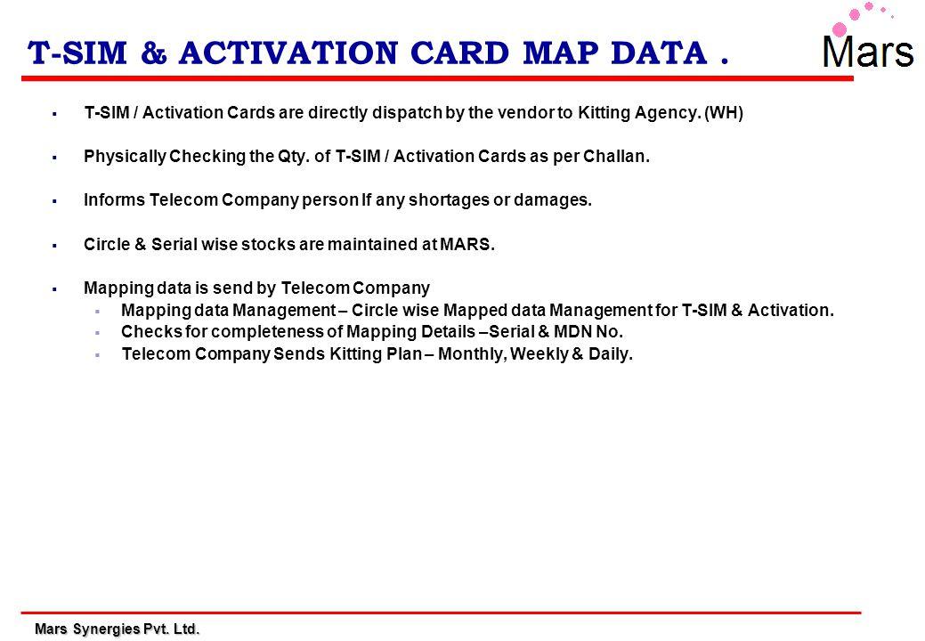 Mars Synergies Pvt.Ltd. T-SIM & ACTIVATION CARD MAP DATA.