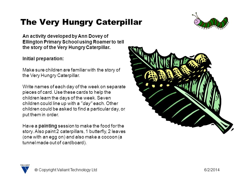 6/2/2014 Copyright Valiant Technology Ltd The Very Hungry Caterpillar An activity developed by Ann Dovey of Ellington Primary School using Roamer to tell the story of the Very Hungry Caterpillar.