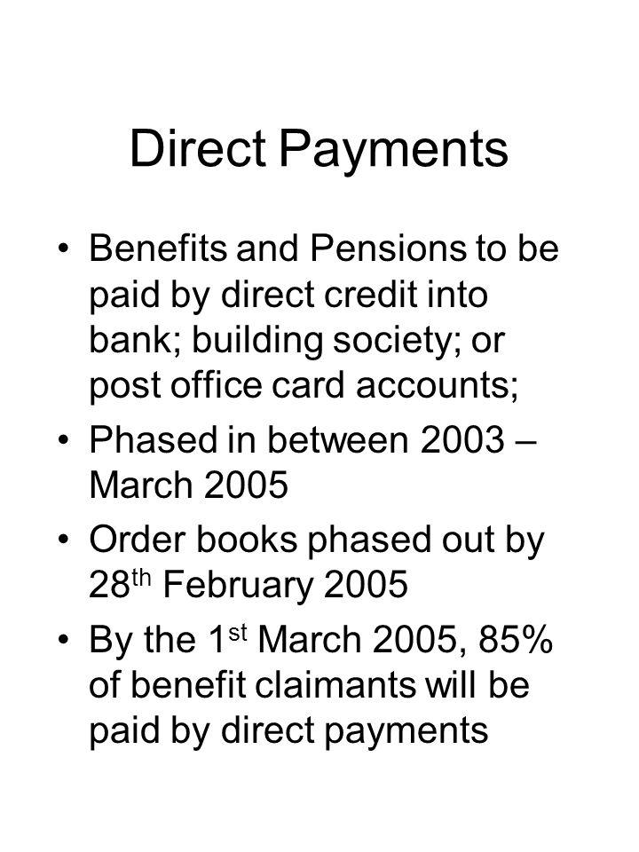 Problems Third party payments –No system to allow irregular third party collection –Many carers who collect benefits and pensions on behalf of more than one individual will have to memorise numerous PINs, or change the PINs in order to help them remember them –Many LAs prohibit carers from having access to claimants bank accounts
