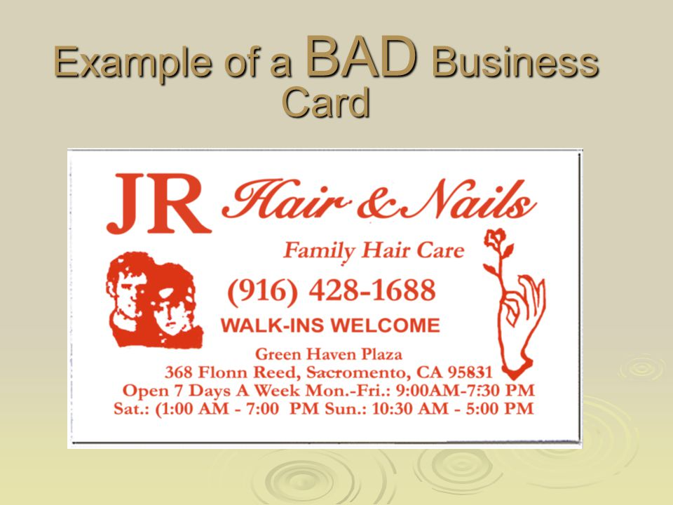 Anatomy of a BAD Business Card The color choice is a good one for a beauty salon.