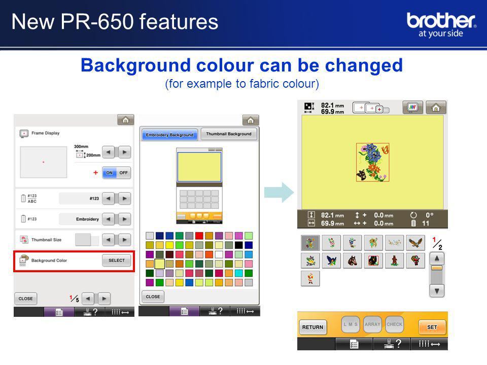 Background colour can be changed (for example to fabric colour) New PR-650 features