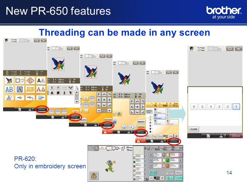 Threading can be made in any screen PR-620: Only in embroidery screen 14