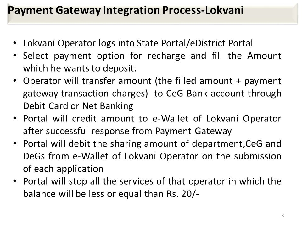 3 Payment Gateway Integration Process-Lokvani Lokvani Operator logs into State Portal/eDistrict Portal Select payment option for recharge and fill the