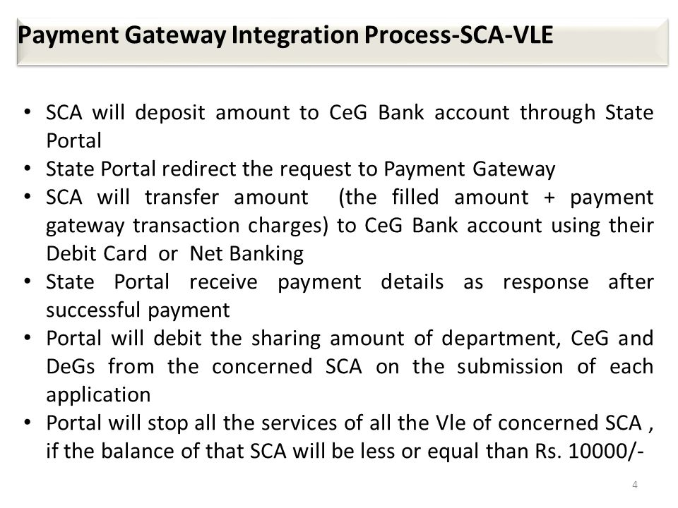 4 Payment Gateway Integration Process-SCA-VLE SCA will deposit amount to CeG Bank account through State Portal State Portal redirect the request to Pa