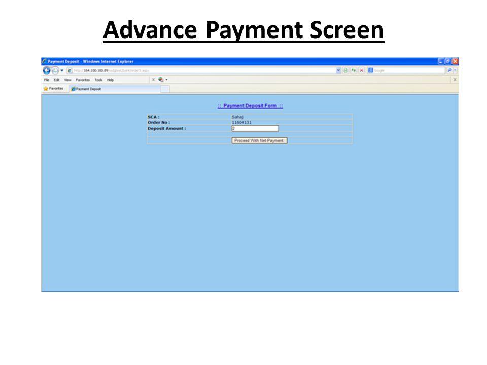 Advance Payment Screen