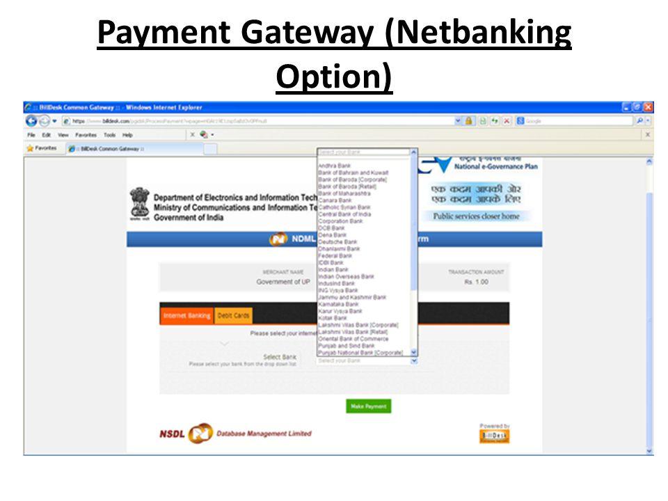 Payment Gateway (Netbanking Option)