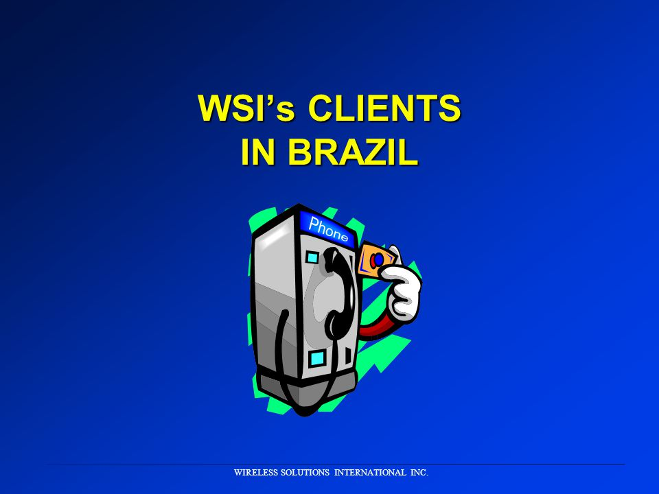 WIRELESS SOLUTIONS INTERNATIONAL INC. WSI Will: Assume stewardship of implementation issues Assume stewardship of implementation issues Develop a proj
