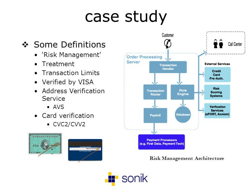 case study Some Definitions Risk Management Treatment Transaction Limits Verified by VISA Address Verification Service AVS Card verification CVC2/CVV2