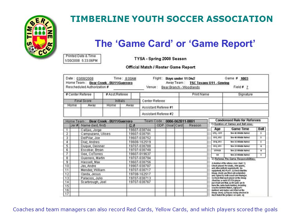 TIMBERLINE YOUTH SOCCER ASSOCIATION The Game Card or Game Report Coaches and team managers can also record Red Cards, Yellow Cards, and which players scored the goals
