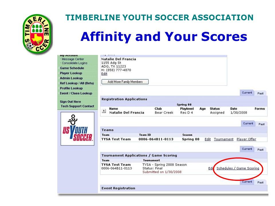 TIMBERLINE YOUTH SOCCER ASSOCIATION Affinity and Your Scores