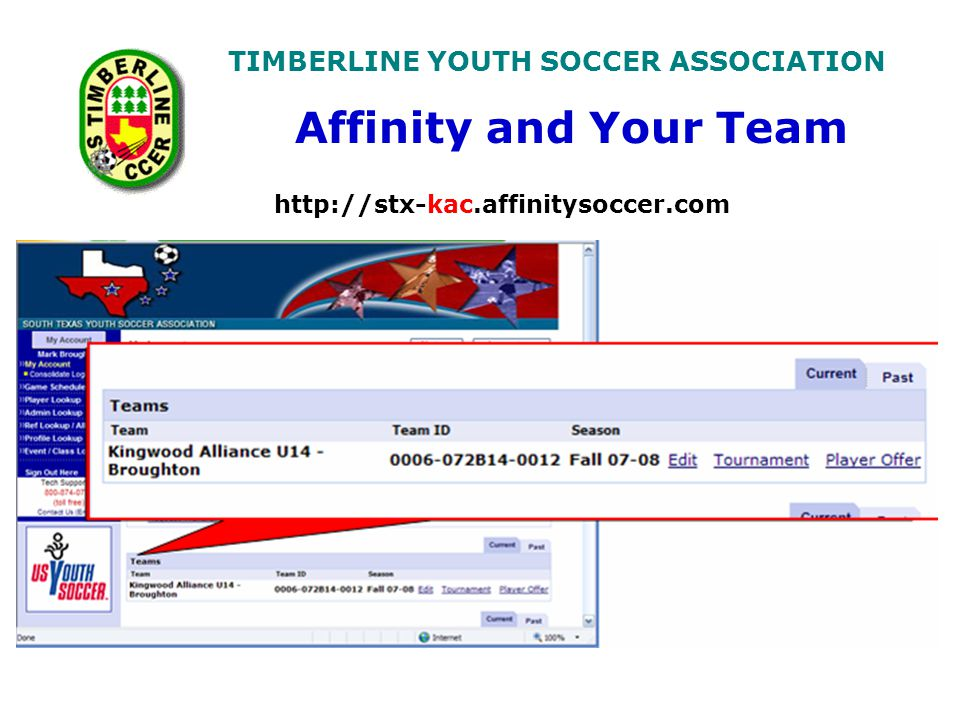 TIMBERLINE YOUTH SOCCER ASSOCIATION http://stx-kac.affinitysoccer.com Affinity and Your Team