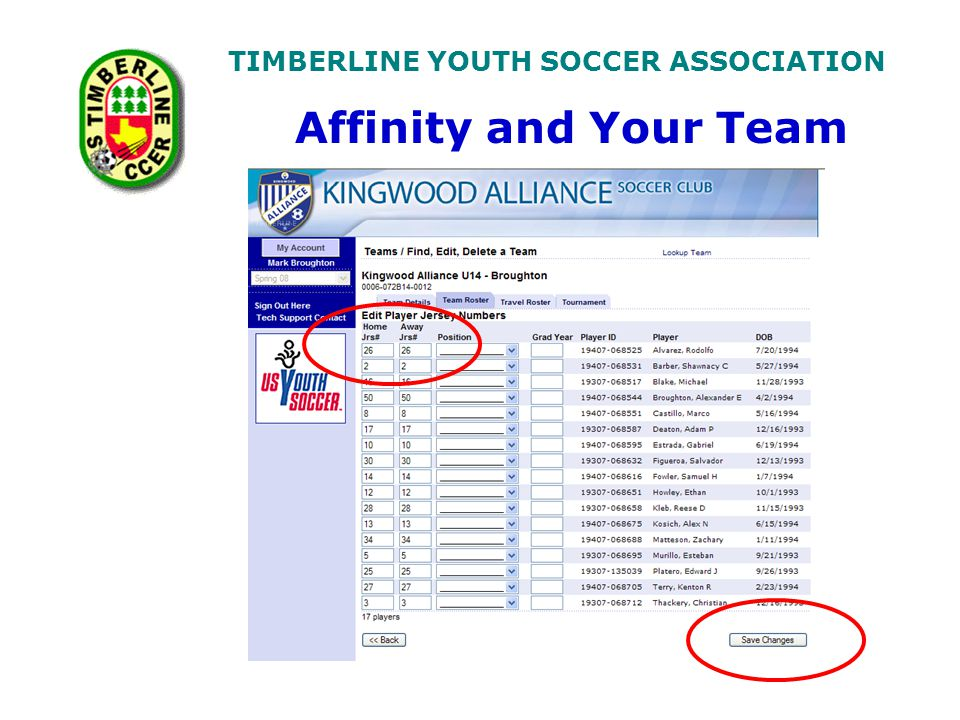 TIMBERLINE YOUTH SOCCER ASSOCIATION Affinity and Your Team