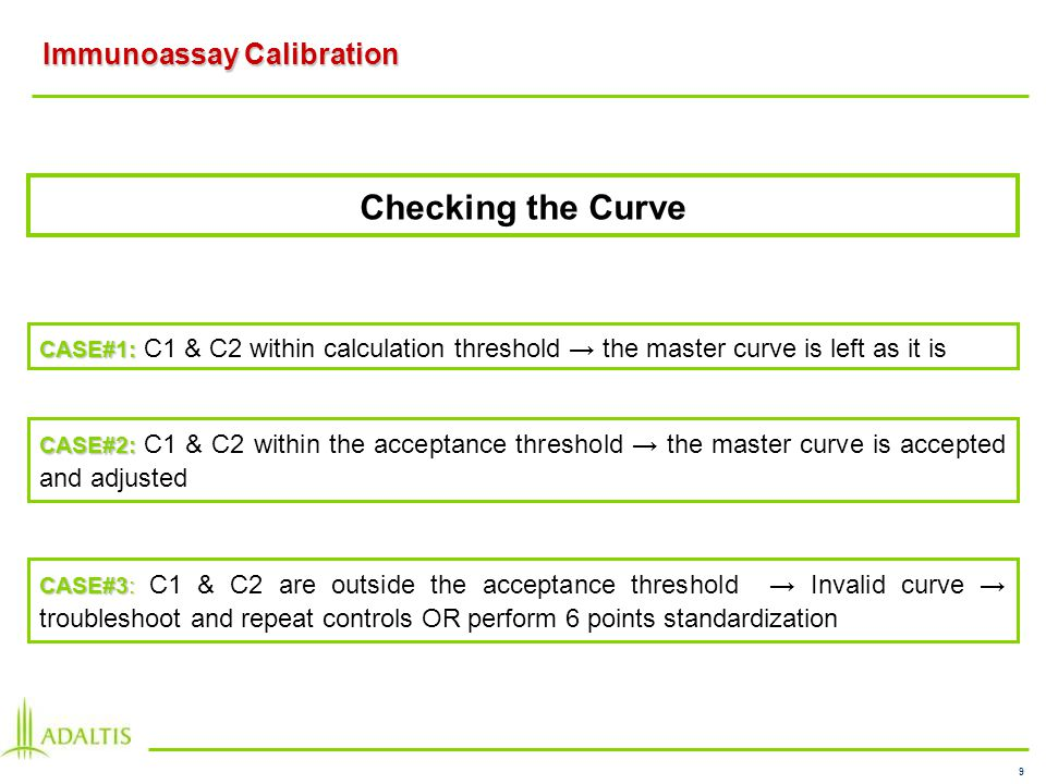 9 Immunoassay Calibration CASE#1: CASE#1: C1 & C2 within calculation threshold the master curve is left as it is CASE#2: CASE#2: C1 & C2 within the acceptance threshold the master curve is accepted and adjusted Checking the Curve CASE#3: CASE#3: C1 & C2 are outside the acceptance threshold Invalid curve troubleshoot and repeat controls OR perform 6 points standardization