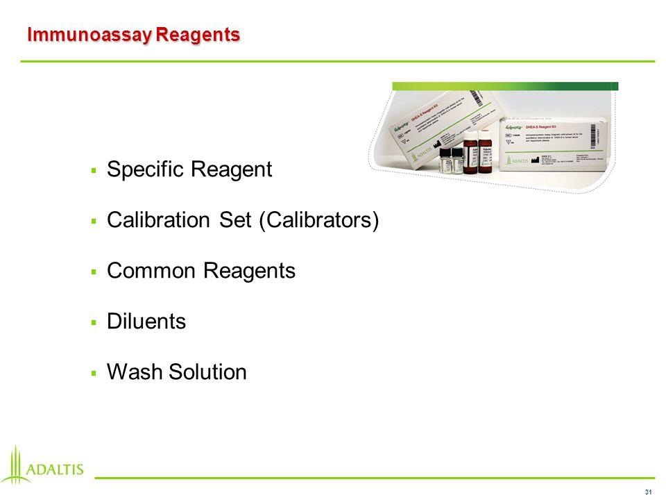 31 Immunoassay Reagents Specific Reagent Calibration Set (Calibrators) Common Reagents Diluents Wash Solution
