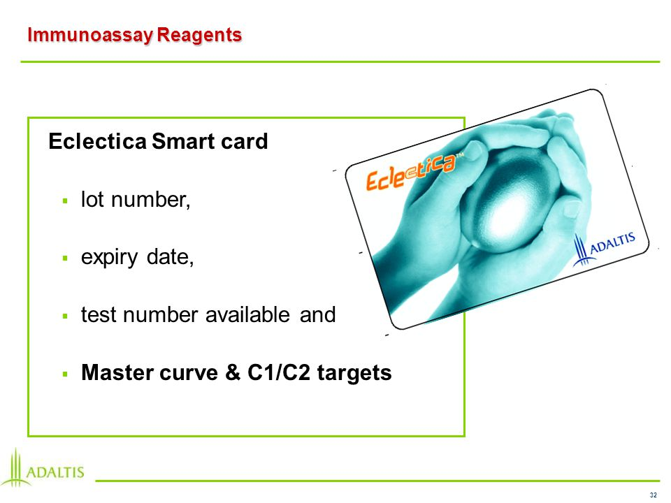 32 Immunoassay Reagents Eclectica Smart card lot number, expiry date, test number available and Master curve & C1/C2 targets