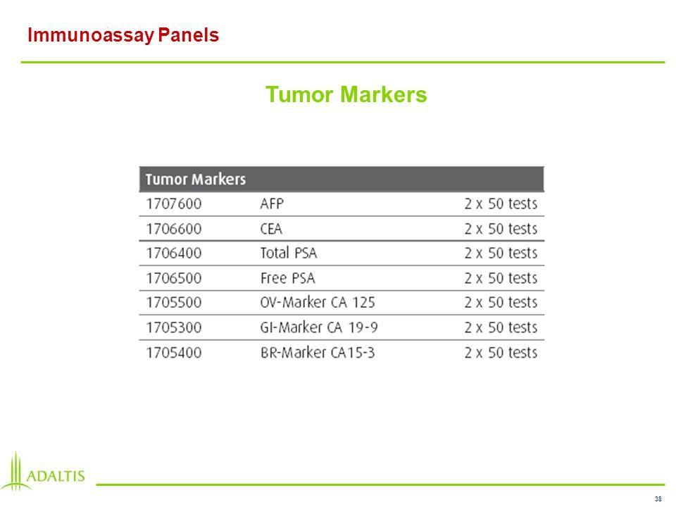 38 Immunoassay Panels Tumor Markers