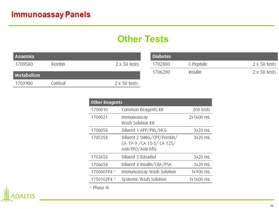 39 Immunoassay Panels Other Tests