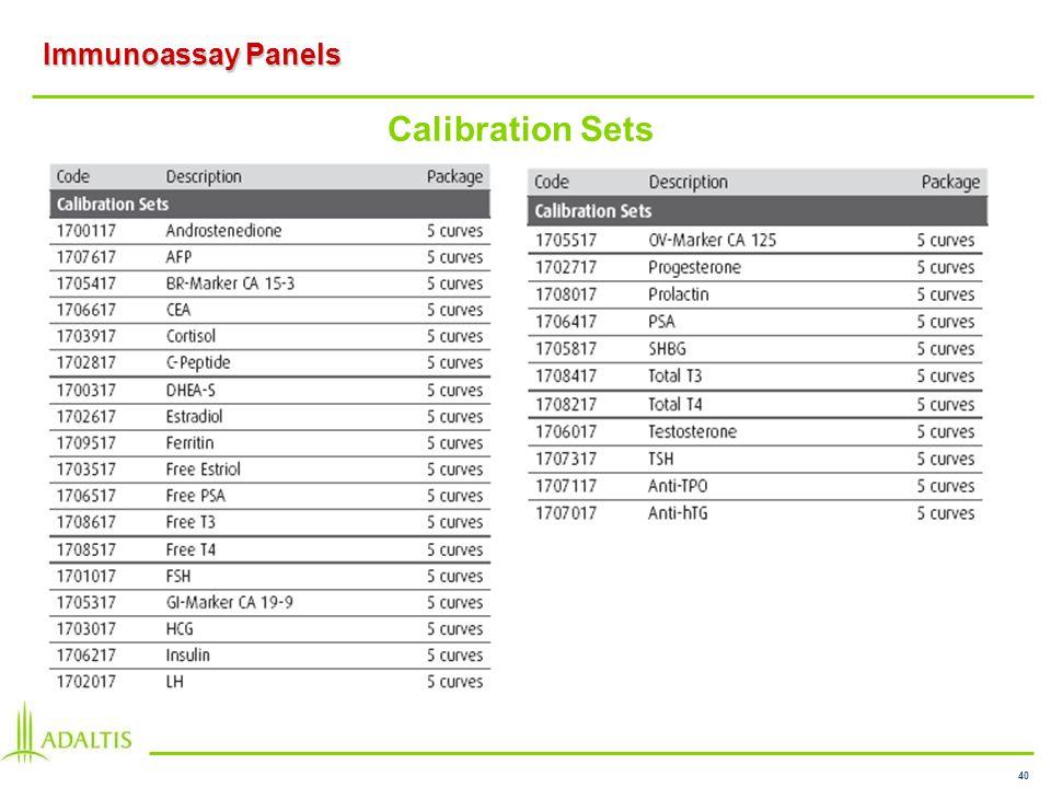 40 Immunoassay Panels Calibration Sets