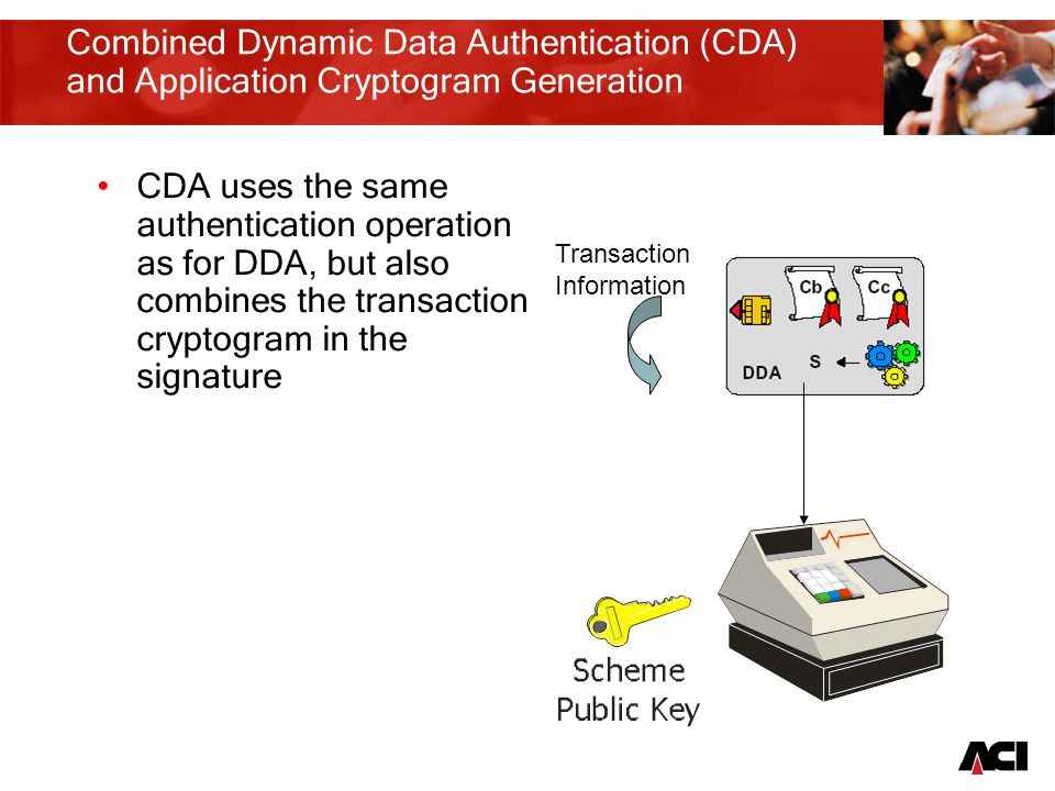 13 Combined Dynamic Data Authentication (CDA) and Application Cryptogram Generation CDA uses the same authentication operation as for DDA, but also combines the transaction cryptogram in the signature Transaction Information