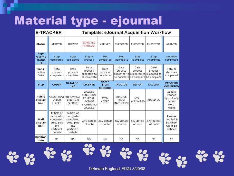 Deberah England, ER&L 3/20/08 Material type - ejournal