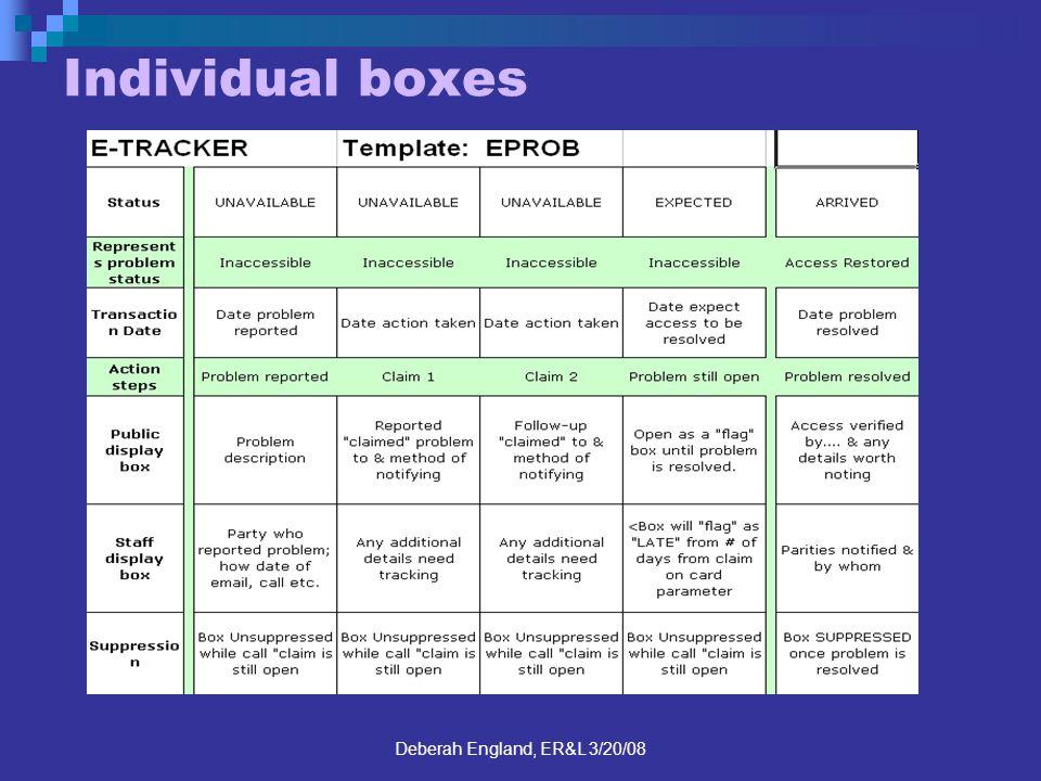 Deberah England, ER&L 3/20/08 Individual boxes
