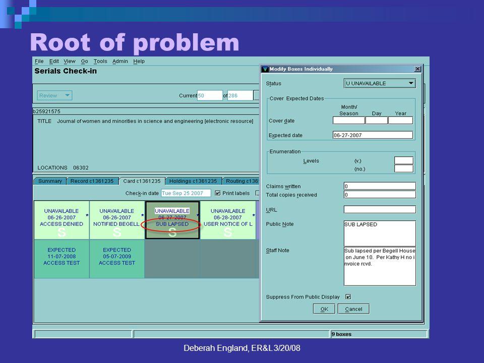 Deberah England, ER&L 3/20/08 Root of problem