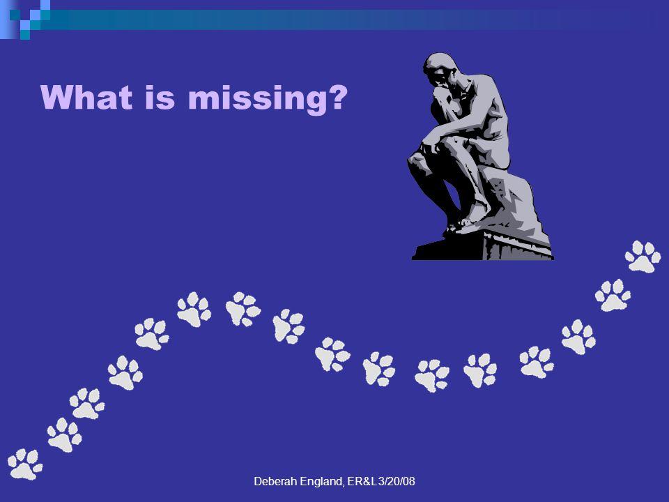 Deberah England, ER&L 3/20/08 What is missing?