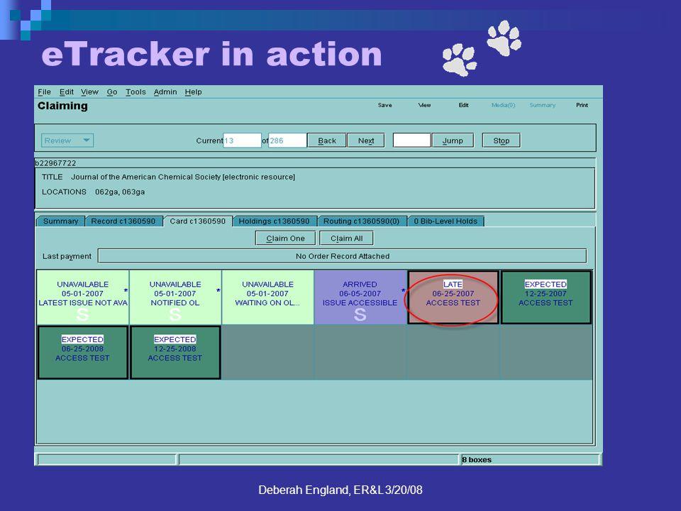 Deberah England, ER&L 3/20/08 eTracker in action