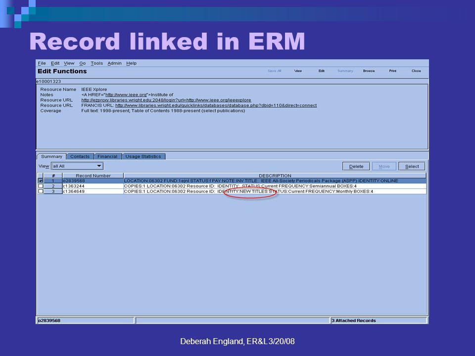 Deberah England, ER&L 3/20/08 Record linked in ERM
