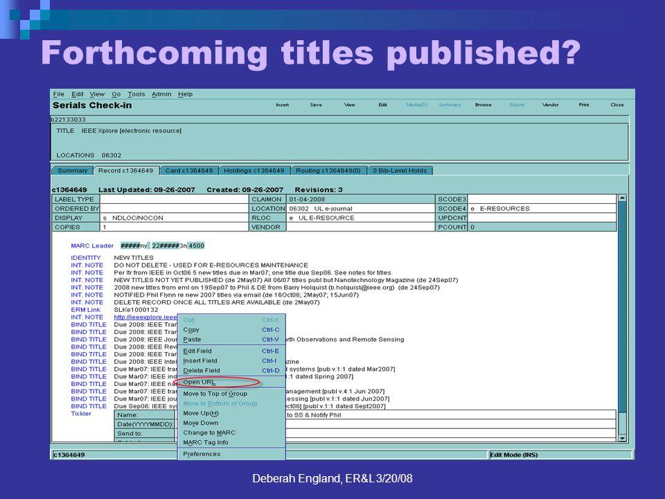 Deberah England, ER&L 3/20/08 Forthcoming titles published?