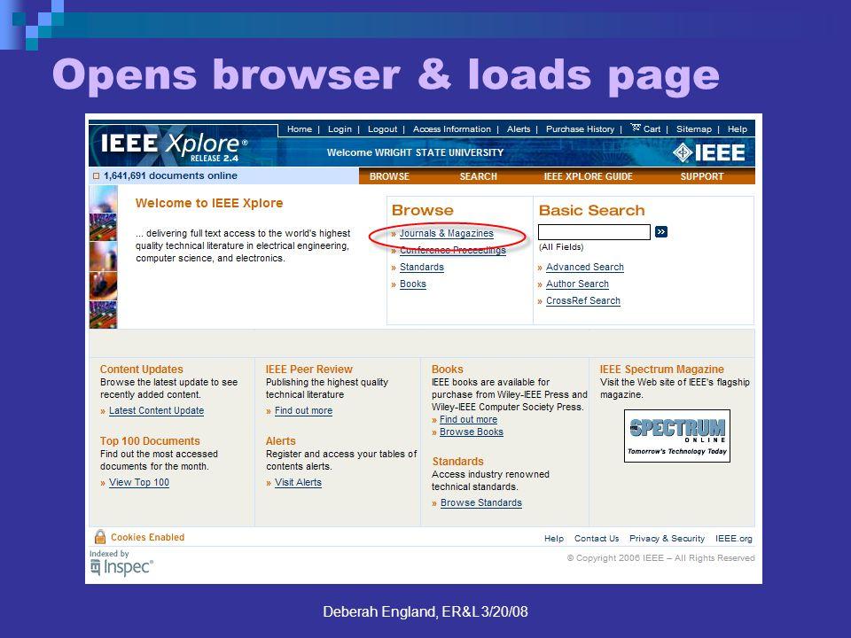 Deberah England, ER&L 3/20/08 Opens browser & loads page