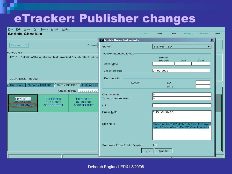 Deberah England, ER&L 3/20/08 eTracker: Publisher changes
