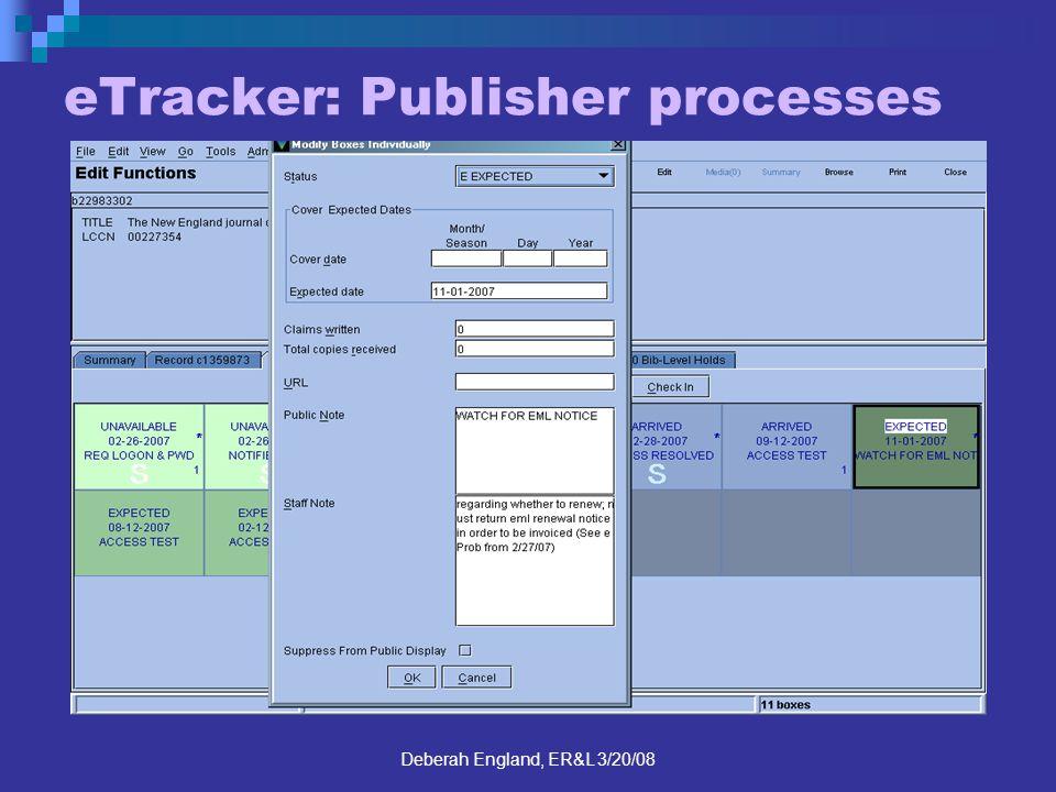 Deberah England, ER&L 3/20/08 eTracker: Publisher processes